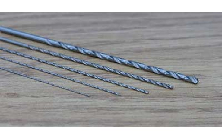 5pc EXTRA LONG TWIST DRILL SET 0.5/0.7/1.0/1.5 & 2.5MM