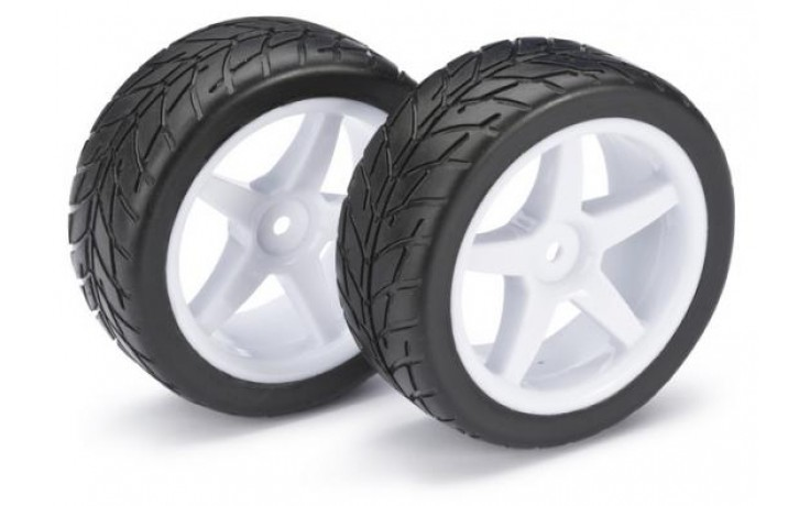 Absima 1:10 Buggy Wheels and Tyres - Street Tyres - White 5 Spoke Front Wheels - Pair (2)