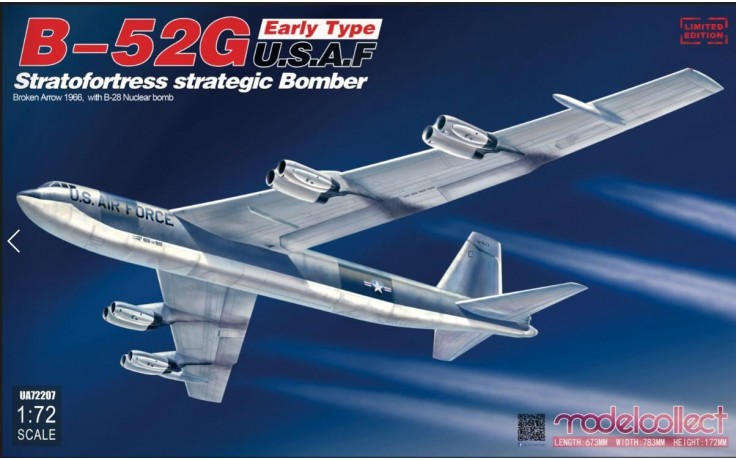 Modelcollect 1/72 Boeing B-52G Early Type USAF Stratofortress Operation Broken Arrow with B-28 Nuclear Bomber UA72207