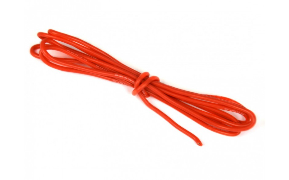 0.8mm Soft Silicone Wire 20AWG Red 1m Length - SKU 2889
