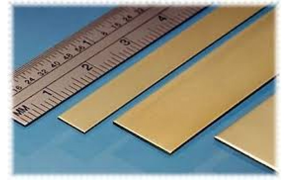 Brass Strip 12mm x 0.4mm 4 pieces