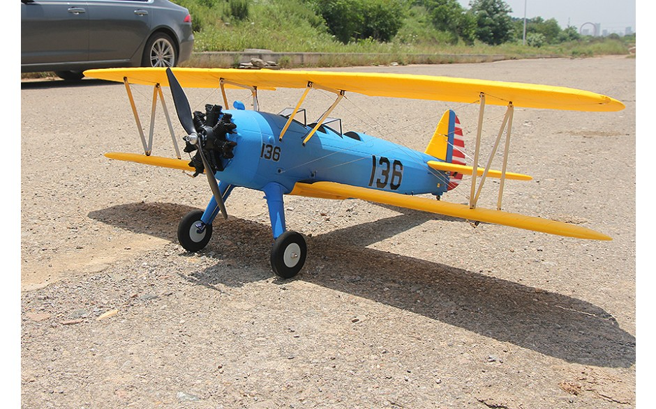 DYNAM PT-17 1300MM BLUE/YELLOW Stearman With out Transmitter/Receiver/Battery/Charger