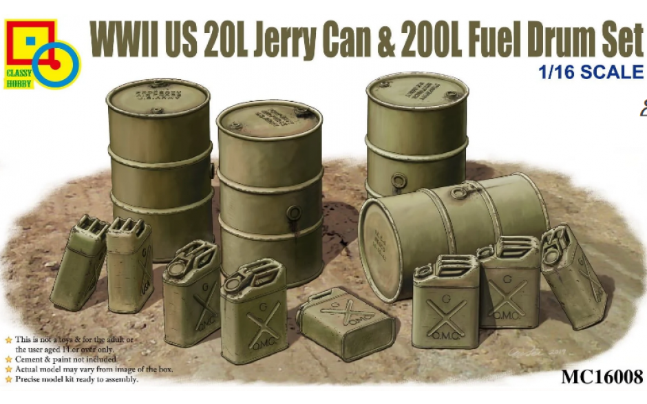 Classy Hobby 1/16 WWII US 20L Jerry Can & 200L Fuel Drum Set # 16008
