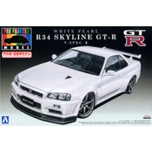 Plastic Kit Aoshima R34 Skyline GT-R V-spec II (White Pearl) (Model Car) 008607
