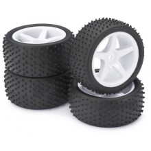 Absima 1:10 Buggy Wheel and Tyre Set - Dirt Tyres - White 5 Spoke Wheels - Set of 4