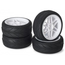 Absima 1:10 On Road Wheel Set - Slick Tyres - 6 Spoke White Wheels (4 set)