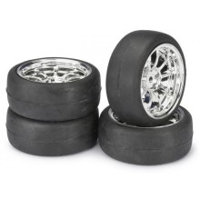 Absima 1:10 On Road Wheel Set - Slick Tyres - LP 9 Spoke Chrome Wheels (4 set)