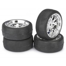 Absima 1:10 On Road Wheel Set - Slick Tyres - LP Comb Chrome Wheels (4 Set)