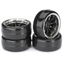 Absima 1:10 Drift Wheel Set - Profile B Tyres - LP 9 Spoke Black Wheels (4 Set)