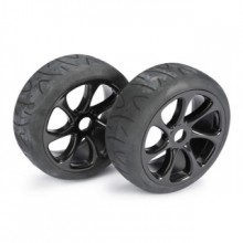 Absima 1/8 Street 7 Spoke 17mm Black Wheel and Tyre Set (Pack of 2 Wheels)