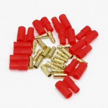 3.5 MM Banna Plug with Red Housing 5 Pairs (10 Sets)