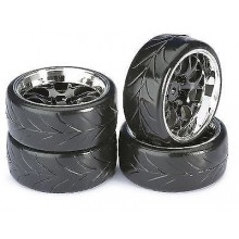 Absima Mesh Wheels with Profile A Drift Tyres Black/Chrome 4pcs