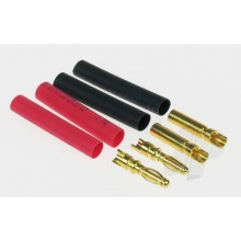 2mm Gold Connectors with Heat Shrink (2 Pair)