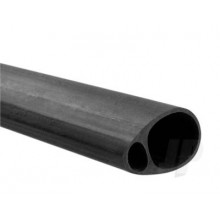 Carbon Fibre Elliptic Tube 19mmx12.5mm x 1mt