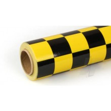 Oracover (Profilm) Covering Cheq. Large Yellow/Black 10 metre
