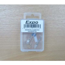 PK 2 CLEAR 5mm LED/RESISTOR