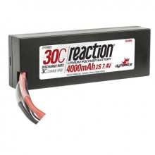 Reaction 7.4volt 4000mAh 2S 30C LiPo Hard Case with Deans Connector