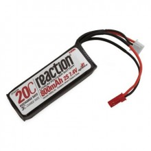 Reaction 7.4volt 800mAh 2S 20C LiPo with 20AWG and JST plug