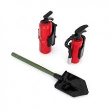 Plastic scoop and fire extinguisher set