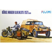 Plastic Kit Fujimi WA20 World Armor Kubel Wagen B.M.W.R75 with Side Car 1/76 Scale Kit