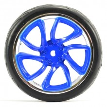 FASTRAX 1/10 STREET/TREAD TYRE TRI-5 BLUE/CHROME WHEEL