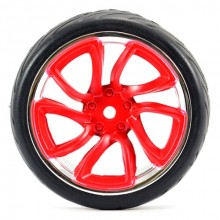 FASTRAX 1/10 STREET/TREAD TYRE TRI-5 RED/CHROME WHEEL