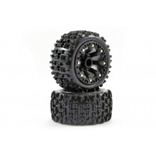 FASTRAX 1:16 JIGSAW MOUNTED 8-SP BLACK (REVO/SUMM/SAV XS ) TYRES & WHEELS PREMOUNTED