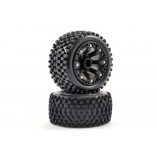 FASTRAX 1:16 STINGER MOUNTED 8-SP BLACK (REVO/SUMM/SAV XS ) WHEELS & TYRES