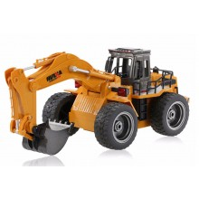 HUINA 2.4G 6CH RC EXCAVATOR W/DIE CAST BUCKET - Ready to Dig