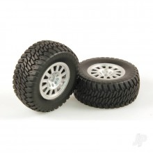 1:10 110mm Silver Wheels/Tyres (12mm Hex) Pair (BOX74)