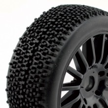 Rocket 1/8th pre-glued buggy tyres on black spoked wheels pair