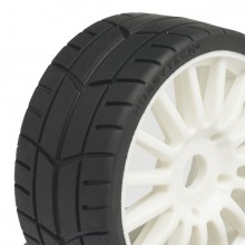 Challenge 1/8th pre-glued buggy on road treaded GT tyres on white spoked wheels pair