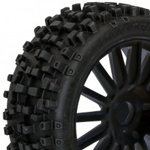 Maxi Cross 1/8th pre-glued buggy tyres on black spoked wheels pair