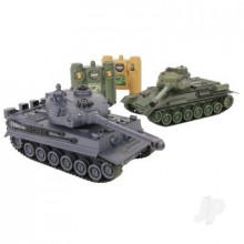 1:28 2.4GHz Battle Tanks RTR 1x Russian T-34 1x German Tiger