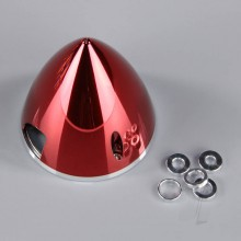 75mm Chrome Red Spinner (with Aluminium Back Plate)