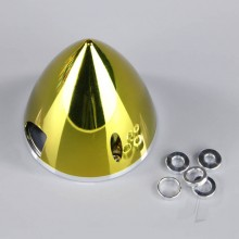 75mm Chrome Yellow Spinner (with Aluminium Back Plate)