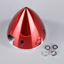 89mm Chrome Red Spinner (with Aluminium Back Plate)