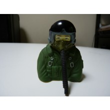 1:7 Scale bust Jet pilots Fully Painted In Green Suit With Mask Hose