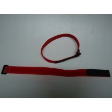 Two Velcro 400mm long 2mm wide Battery Straps Red