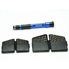 Drill set HSS drill of 0.6-2.5mm in 0.1mm increments 2 pieces each (40 drills) with handle