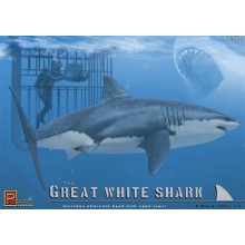 Great White Shark with Diver in Cage 1:18