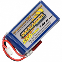 Lipo Batteries 850mAh 2S 7.4v 30C Supersport