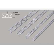 Plastruct Styrene Open Webb Truss- 9.5 x 15.9 x 150mm