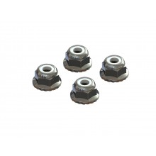 Flanged Nyloc Locknut 4mm Silver (4)